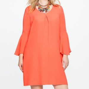 ELOQUII V Neck Flare Sleeve Shift Dress
